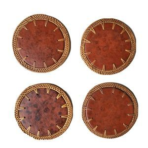 Red Clay Pottery Rattan Coasters Set Of 4 Bohemian